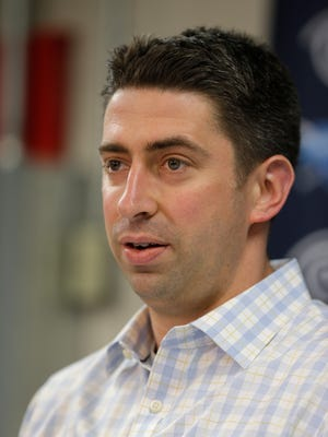 Cleveland Indians general manager Mike Chernoff answers questions during a news conference Tuesday, Oct. 6, 2015, in Cleveland. With president Mark Shapiro leaving Cleveland after 24 seasons to take the same position with the Toronto Blue Jays, the Indians have moved Chris Antonetti, who has been the GM over the past five seasons, into a new role, president of baseball operations. (AP Photo/Tony Dejak)