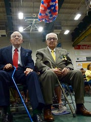 Retired Vermont Air National Guard Col. Burton A. Paquin (left), 95, sits with businessman and philanthropist Tony Pomerleau, 97, on Saturday prior to a celebration of the Vermont Guard at the University of Vermont
