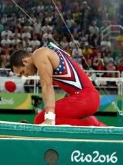 Gravity strikes again: Danell Leyva, the final U.S. hope, fell from the high bar.