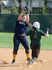 Pocomoke's Dom Farrace with the play at second against