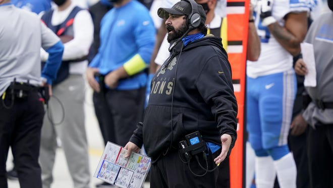 Detroit Lions head coach Matt Patricia watches during the first half of an NFL football game against the Carolina Panthers Sunday, Nov. 22, 2020, in Charlotte, N.C.
