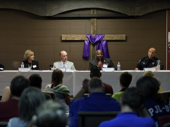 Appleton Diversity Coordinator Karen Nelson, from left, Appleton Area School District Superintendent Judy Baseman, Judge John Des Jardins, Pastor Alvin T. Dupree and Police Chief Todd L. Thomas participate Tuesday in a community panel on building relationships. Dan Powers/USA TODAY NETWORK-Wisconsin