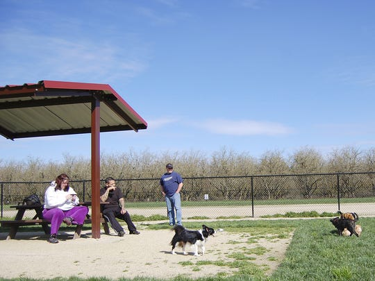 People take their dogs to the dog park at Keizer Rapids Park on Monday, April 2, 2012.