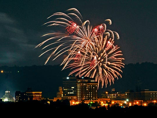 Fireworks over downtown Asheville, July 4, 2007.