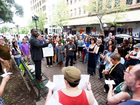 Caddo Commssion President Steven Jackson speaks during the Vigil for Charlottesville Sunday, August 13,2017, evening at the Caddo Parish Court House in Shreveport, Louisiana.