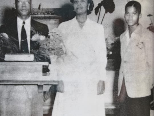 The Rev. W.O. Wells, who led Greater St. Paul Missionary Baptist Church for 50 years, is pictured at right in 1944, with his father and stepmother.