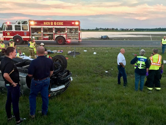 Emergency responders at the scene of a fatal traffic accident on Interstate 69 south of the Ind. 332 interchange on Wednesday evening.