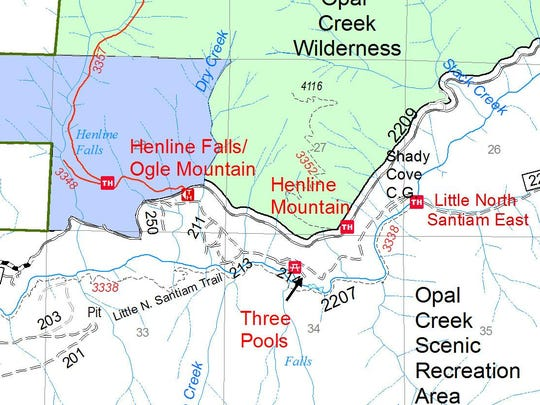 Map shows trail closures in the Opal Creek Wilderness