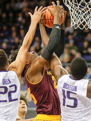 Feb 1, 2018; Seattle, WA, USA; Arizona State Sun Devils forward Romello White (23) collects a rebound against the Washington Huskies during the first half at Alaska Airlines Arena. Mandatory Credit: Joe Nicholson-USA TODAY Sports