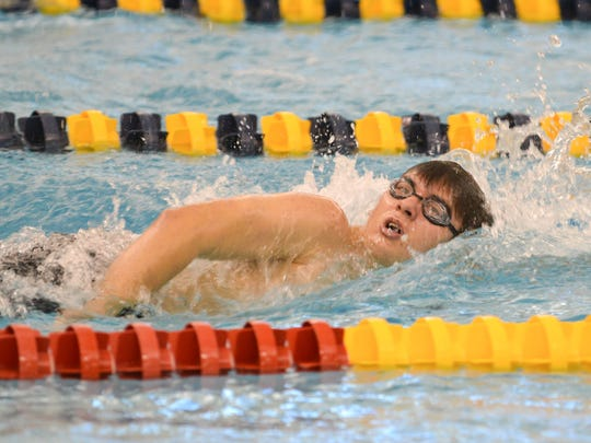 Marshall's Weston Quigley participates in the 500 yard up-down relay.