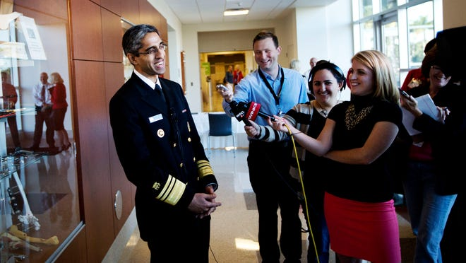 Dr. Vivek Murthy, who was sworn in as U.S. Surgeon General in December, addresses the media after visiting with Southwest Florida community leaders Friday morning during a closed-door session at Gulf Coast Medical Center in south Fort Myers.