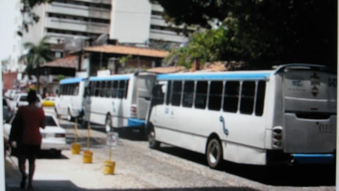 These happen to be some newer busses that provide convenient and economical trasport all over town. The majority of busses are older, many have noisy, bad brakes and they all bounce their passengers around, thanks to the cobblestone streets they have to traverse.