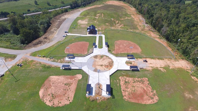 This is an aerial view of the Burns ball fields taken Sept. 19.