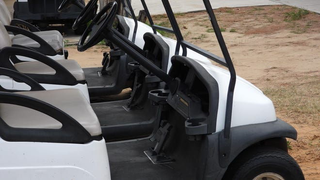 Golf carts are not licensed and registered with the state. Both are requirements for motor vehicles on Pennsylvania public roads.