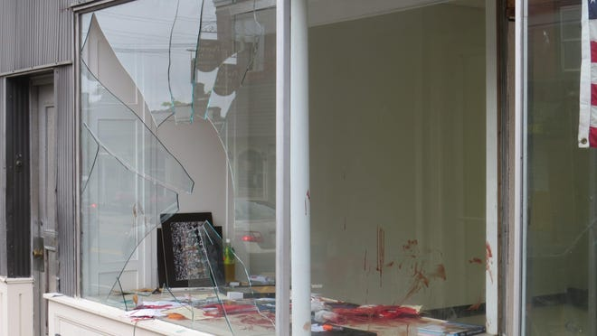 A man suffered severe lacerations Thursday night, July 9, when he broke through a storefront window from the inside of commercial spaces undergoing renovation on lower Main Street in Boonton.