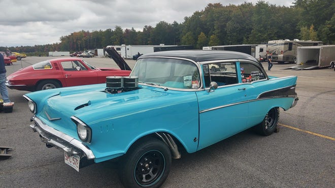 Here's a look at Mac Cook's 1957 Chevy, which he has been restoring with a friend over the past two years and races at drag strips, including New England Dragway on Sunday.