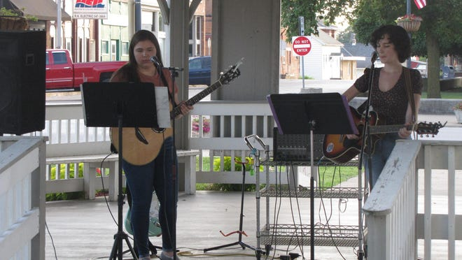 Chloe Haley and Mya Matusik performed Aug. 6 at Lewistown's Music in the Park.