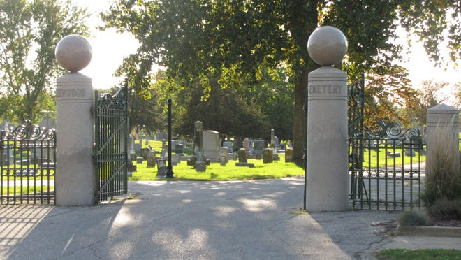 Pictured is the entrance to Greenwood Cemetery.