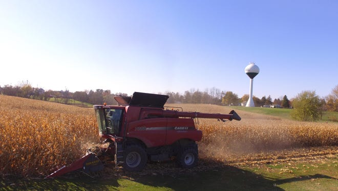 The West Carroll FFA Corn Plot was harvested by Terry Charles on Oct. 30. Pictured: Olivia and Terry Charles operating the combine.