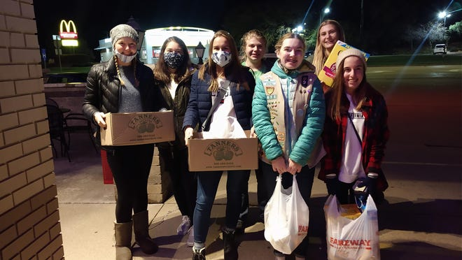 On Sunday, October 18th, girls from Ambassador Girl Scout Troop 8655 conducted a Food Pantry Scavenger Hunt in local Geneseo neighborhoods to collect items for the Geneseo-Atkinson Food Pantry.  Numerous boxes and bags were filled and delivered to the food pantry for its clients.  Pictured are:  Emma Olson, Brynley Castro, Eliza Farley, Delaney Fouts, Abbigail McGee, Taya Fouts and Isabelle Berry.