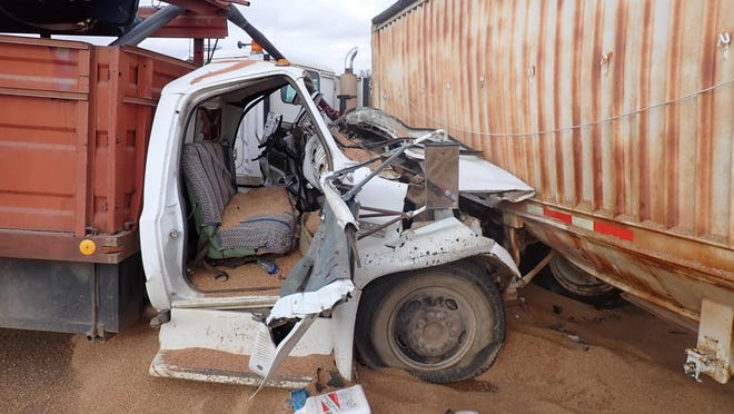 A 1976 GMC 6000 farm truck struck the side of a 1995 International Truck Trailer Monday afternoon at Woodward and Mentor roads.