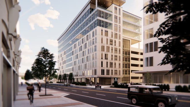 A rendering of Perrigo's planned headquarters in Grand Rapids. The project represents an investment of nearly $45 million over the 15-year lease agreement offset by $3.7 million in state incentives and other collaborator commitments.
