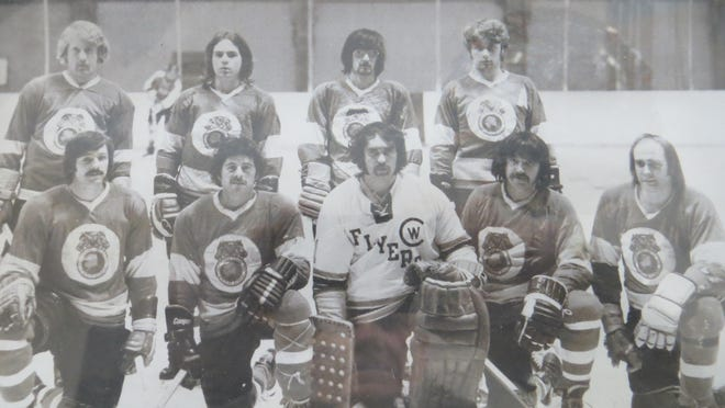 Sault Ste. Marie natives on the Alaska Teamsters hockey team included, (front row, from left): Ken Sherman, JT Venious, Paul Mallette, Roger McKinnon and Rich Mannisto; (back row, from left): Paul Michaels, Tim Waggoner, Eddie Joss and Scott Michaels. The Teamsters evolved into the Alaska Gold Kings, featuring a strong Sault connection over the years.