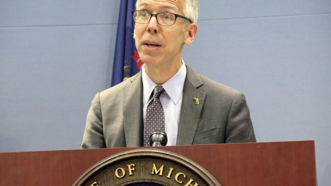 Robert Gordon, director of the Michigan Department of Health and Human Services, speaks at a news conference about lead testing Wednesday, June 26, 2019 at the Romney Building in Lansing, Mich. Gordon suddenly announced his resignation on Twitter Friday, Jan. 22.