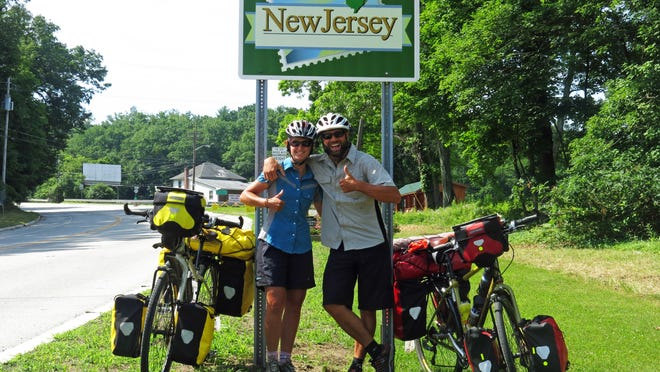 Kristin and Doug Walsh return to their native New Jersey after biking from Seattle, a four-month journey. On July 26, they will head by ship to Europe to resume their bike trip around the world.