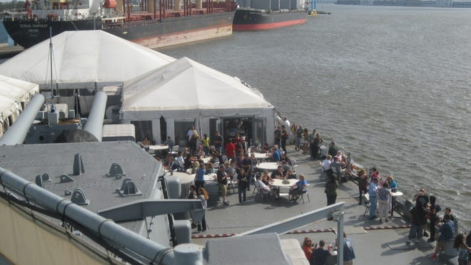 Panoramic view of last year's BrewBlast aboard the Battleship New Jersey slong the Camden waterfront. Saturday is the next edition.