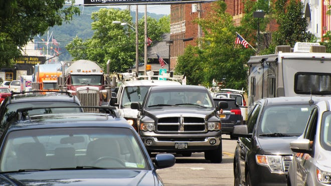 A steady stream of traffic filled both directions of Franklin Street in downtown Watkins Glen throughout Monday.