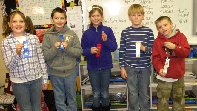 4-H cornbread winners from Mrs. Cantrell's fourth-grade class at Beech Elementary are, from left, Lexie Stewart and Dakota Parro, first place; Alexis Bullion, second place; and Zachary Lee and William Hurt, third place.