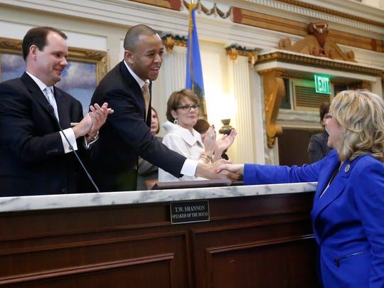 Oklahoma Gov. Mary Fallin, right, greets Speaker of