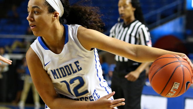 Brea Edwards nearly recorded a triple-double in her final home game at the Murphy Center.