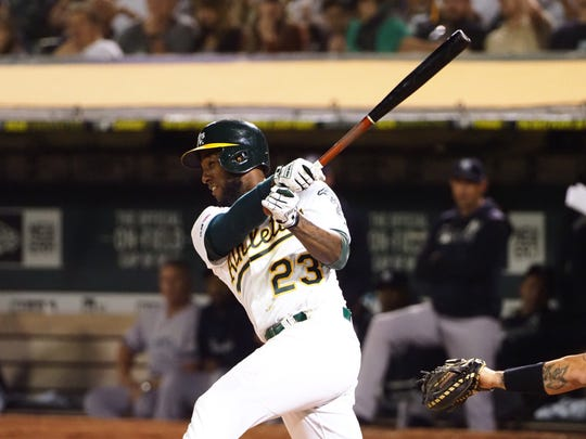 Jurickson Profar is in his sixth major-league season, and first with the Oakland A's.