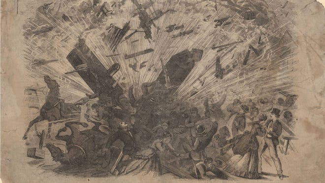 Thirty people were killed when a Sinker-Davis steam boiler exploded at the Indiana Fall Fair on Oct 1, 1869.