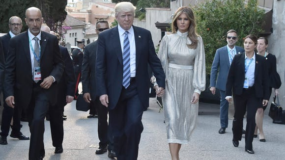 President Trump and first lady Melania Trump arrive