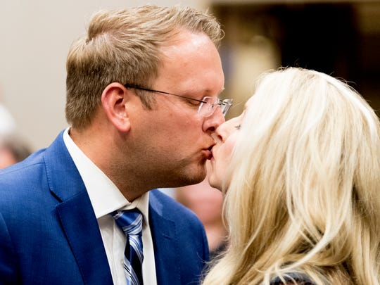 Justin Biggs kisses his wife Heather after winning County Commissioner during the GOP watch party for the Knox County Primary Election at the Crowne Plaza Hotel  in Knoxville, Tennessee on Tuesday, May 1, 2018.