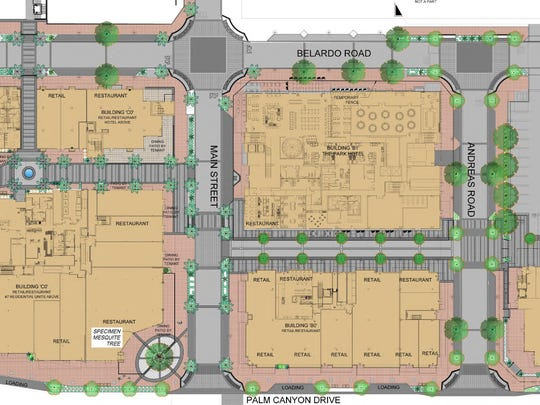 The site plan for proposed changes to the landscaping and planting materials in the downtown Palm Springs redevelopment project.