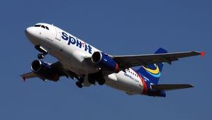 Spirit Airlines airbus in flight.