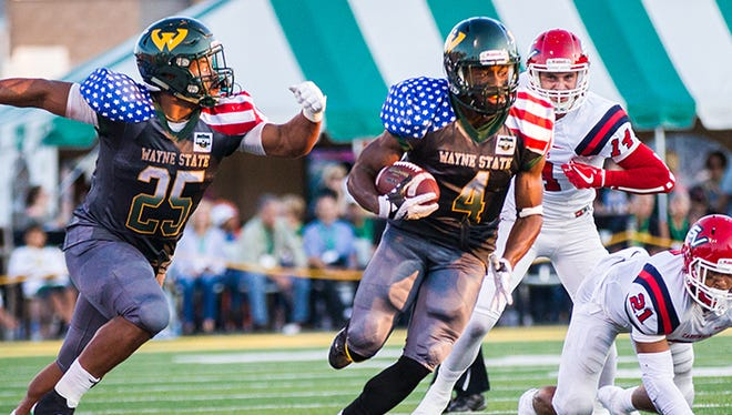 Wayne State running back Deiontae Nicholas had a game-high 235 all-purpose yards and two touchdowns in the win over Saginaw Valley State on Saturday, Sept. 16, 2017, at Tom Adams Field.