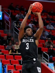 Butler Bulldogs guard Kamar Baldwin (3) shoots in the