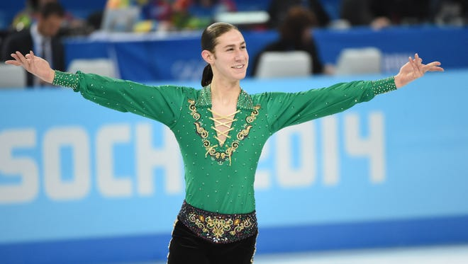 Jason Brown of the USA during the free skate in the Sochi 2014 Olympic Winter Games at Iceberg Skating Palace on Feb. 14.