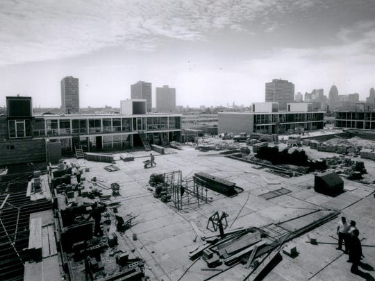 In this photo dated July 24, 1965, shows the Lafayette Park development under construction. The large park and complex of apartments and housing cooperatives is just east of downtown Detroit, Michigan.