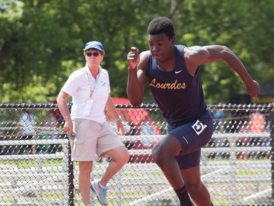 Our Lady of Lourdes' Jaheim Jones at the NYSPHSAA track