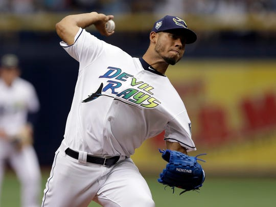 Tampa Bay Rays' Wilmer Font pitches to the New York Yankees during the first inning of a baseball game Saturday, June 23, 2018, in St. Petersburg, Fla. (AP Photo/Chris O'Meara)