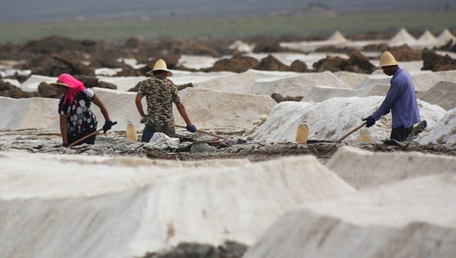 In this Aug. 13, 2011 photo, migrant workers shovel raw salt at the Qijiaojing Salt Field in Hami in northwest China's Xinjiang Uygur Autonomous Region.