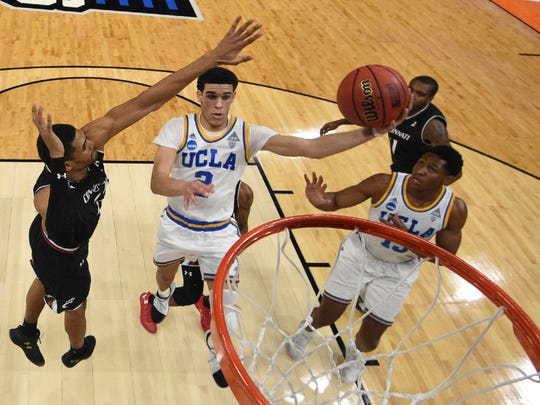 UCLA guard Lonzo Ball (2) against Cincinnati during the second round of the NCAA Tournament.
