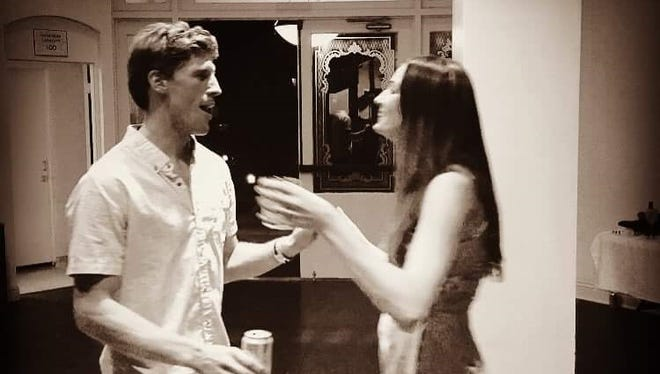 Charlie Keating and his wife, Brooke Clark, dancing.