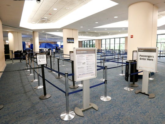 This photo from October 6, 2016, shows no lines at Palm Beach International airport after flights were cancelled in the afternoon as Hurricane Matthew advanced, Thursday, Oct. 6, 2016.